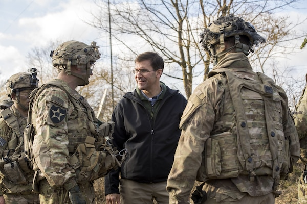 U.S. Army Secretary Dr. Mark T. Esper, center, meets with U.S. Soldiers participating in Exercise Allied Spirit VIII in Europe Jan. 30. During a recent roundtable with MSO/VSO organizations at the Pentagon Feb. 6, Secretary Esper provided more details about the Army's efforts to reduce the number of non-deployable Soldiers and PCS moves.