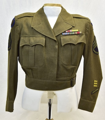 Plans call for this artifact to be displayed near the B-17F Memphis Belle™ as part of the new strategic bombardment exhibit in the WWII Gallery, which opens to the public on May 17, 2018. Coat worn by SSgt Theresa Kobuszewski, who served in the Women's Army Corps in the Eighth and Ninth Air Forces in England during WWII.