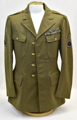 Plans call for this artifact to be displayed near the B-17F Memphis Belle™ as part of the new strategic bombardment exhibit in the WWII Gallery, which opens to the public on May 17, 2018. Memphis Belle waist gunner SSgt E. Scott Miller's uniform coat. He flew 16 missions with the crew, but did not go on the war bond tour.