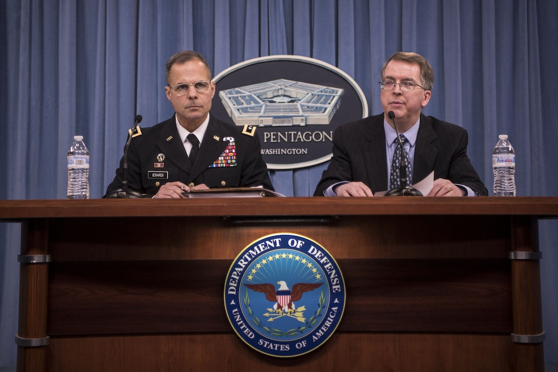 David L. Norquist, right, the Defense Department's comptroller and chief financial officer, and Army Lt. Gen. Anthony R. Ierardi, the Joint Staff's director of force structure, resources and assessment, brief reporters on the fiscal year 2019 defense budget at the Pentagon, Feb. 12, 2018.