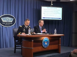 Joint Staff officer and Defense Department comptroller describe the president's fiscal year 2019 defense budget request to reporters at the Pentagon.