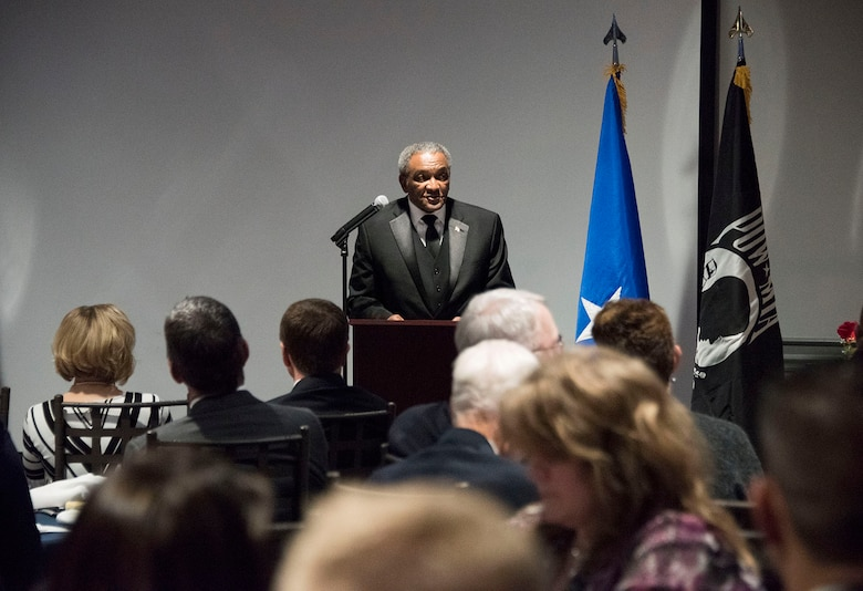 Retired Maj. Gen. Alfred K. Flowers speaks at the 419th Fighter Wing's annual awards banquet Feb. 10, 2018