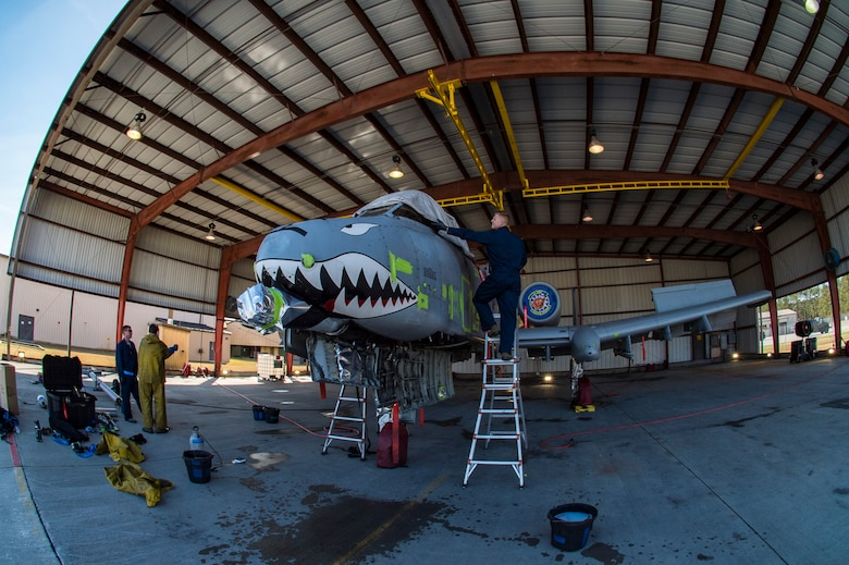 Airmen prepare an A-10C Thunderbolt II for a wash, Feb. 8, 2018, at Moody Air Force Base, Ga.In addition to mechanical and electrical maintenance, A-10's must be washed every 180 days or approximately 1,000 flying hours in order to control corrosion caused by residue from the gun and engine exhaust. (U.S. Air Force photo by Senior Airman Janiqua P. Robinson)