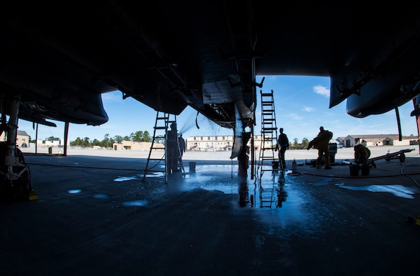 Airmen wash an A-10C Thunderbolt II, Feb. 8, 2018, at Moody Air Force Base, Ga.In addition to mechanical and electrical maintenance, A-10's must be washed every 180 days or approximately 1,000 flying hours in order to control corrosion caused by residue from the gun and engine exhaust. (U.S. Air Force photo by Senior Airman Janiqua P. Robinson)