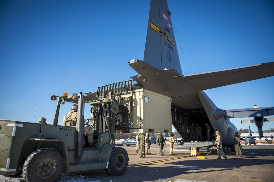 Airmen from the 103rd Airlift Wing participate in an operation readiness exercise at Bradley Air National Guard Base, Conn. on Jan 7, 2018. This readiness exercise prepares Airmen for working in real world CBRNE conditions. (U.S. Air Force photo by Tech Sgt Jeremy Bowcock)