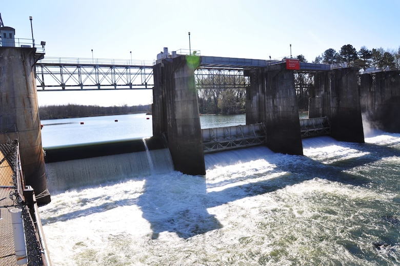 The New Savannah Bluff Lock and Dam (NSBL&D) is owned and minamally maintained by the Savannah District of the U.S. Army Corps of Engineers. It is located outside Augusta, Georgia, on the Savannah River between Georgia and South Carolina. The NSBL&D was originally opened in the late 1930s to aid in river navigation between Augusta and the deep water ocean port in Savannah. Commercial operations on the Savannah River essentially ended in 1979. The NSBL&D later entered caretaker status. Today it impedes the migration of certain endangered fish to traditional spawning grounds upstream. (U.S. Army Corps of Engineers photo by Billy Birdwell)