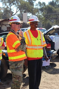 Col. Kirk Gibbs, commander of the U.S. Army Corps of Engineers Los Angeles District, visits Santa Barbara County debris basins Feb. 9. As of Feb. 11; Arroyo Paredon, Toro East, Toro Upper-West, Toro Lower-West, Cold Spring, San Ysidro, Montecito, Franklin, and Gobernador have been cleared. Debris clearance continues in Romero and Santa Monica basins.