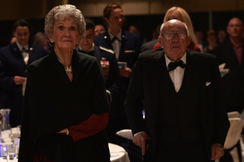 JoAnne Powell and U.S. Air Force retired Col. Charles Powell stand during the 25th Annual Awards Ceremony at the McNeese Convention Center in San Angelo, Texas, Feb. 9, 2018. The Powells have been community leaders for over 30 years after he retired as Goodfellow's commander in 1984. (U.S. Air Force photo by Senior Airman Randall Moose)