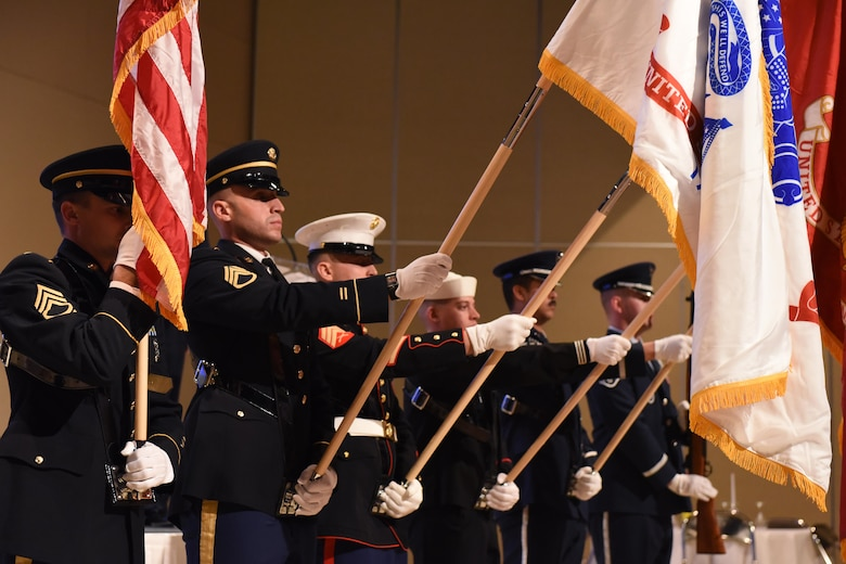 The Goodfellow Joint Service Color Guard presents the flags during the 25th Annual Awards Ceremony at the McNeese Convention Center in San Angelo, Texas, Feb. 9, 2018.  Awards were presented to members of each branch. (U.S. Air Force photo by Airman 1st Class Zachary Chapman)