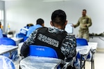 U.S. soldier teaches a class for Honduran police officers.