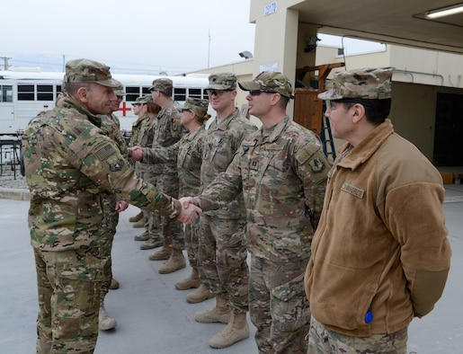 Gen. Mike Holmes, commander of Air Combat Command, visits Airmen from the 455th Air Expeditionary Wing Feb. 9, 2018 at Bagram Airfield, Afghanistan.