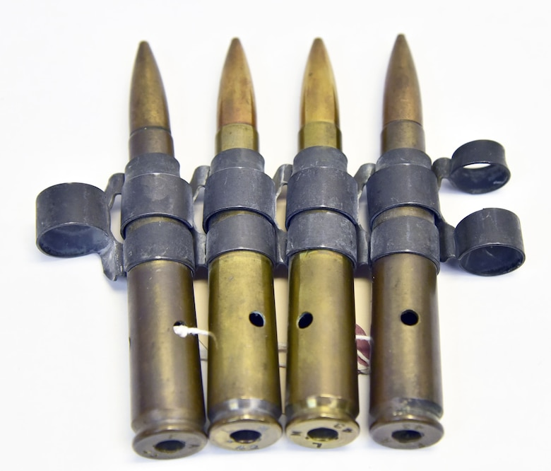 Plans call for this artifact to be displayed near the B-17F Memphis Belle™ as part of the new strategic bombardment exhibit in the WWII Gallery, which opens to the public on May 17, 2018. These .50-cal. rounds were found under the bombardier compartment of the Memphis Belle after it came back to the U.S.
