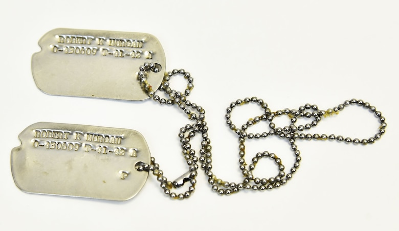 Plans call for this artifact to be displayed near the B-17F Memphis Belle™ as part of the new strategic bombardment exhibit in the WWII Gallery, which opens to the public on May 17, 2018. Dog tags worn by Memphis Belle pilot and aircraft commander Capt Robert Morgan.