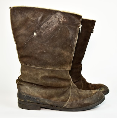 "Plans call for this artifact to be displayed near the B-17F Memphis Belle™ as part of the new strategic bombardment exhibit in the WWII Gallery, which opens to the public on May 17, 2018. British-made flying boots worn by Memphis Belle radio operator TSgt Robert ""Bob"" Hanson."