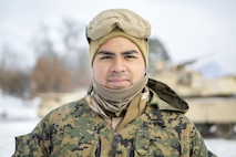 Lance Cpl. William Vasquez is a Sanford, North Carolina, native and Reserve Marine with Company F, 4th Tank Battalion, 4th Marine Division. Vasquez, a tank crew member, participated in exercise Winter Break 2018 on Camp Grayling, Michigan, Feb. 4-17, 2018. When he's not conducting Marine Corps training, Vasquez is a construction worker for Parkers Stockstill Construction in North Carolina.