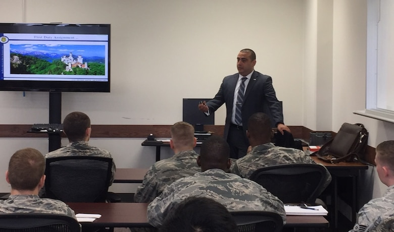 AFOSI SA Dan Chaale briefs Airmen at Yokota AB, Japan, on the opportunities AFOSI offers during an OSI Recruiting Roadshow in the summer of 2017. (USAF photo submitted by SA Dan Chaale)