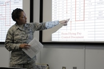 Technical Sgt. Allysia Landin, 436th Training Squadron, Dyess AFB, Texas, conducts a Host Aviation Resource Management (HARM) class on how to calculate Flight Incentive Pay.  Sergeant Landin was recently selected as the Air Combat Command winner of the 2017 Air Force Outstanding Aviation Resource Management (1C0X2) award - Instructor Category.