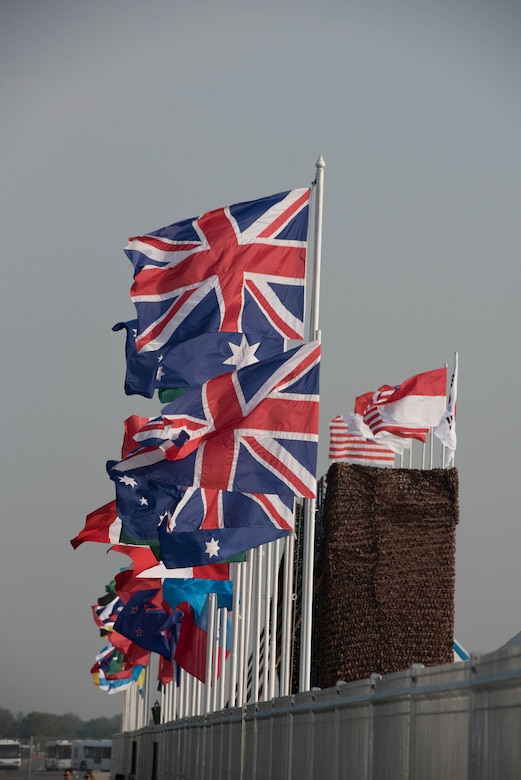 Flags from multiple nations participating in or observing Exercise Cobra Gold 2018 are flown during the opening ceremony Feb. 13, 2018, at U-Tapao International Airport, Ban Chang district, Rayong province, Thailand. Cobra Gold 18 provides a venue for both United States and partner nations to advance interoperability and increase partner capacity in planning and executing complex and realistic multinational force and combined task force operations. The annual exercise is conducted in the Kingdom of Thailand held from Feb. 13-23 with seven full participating nations.