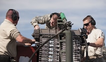 "Members of the 122nd Fighter Wing load 30mm ammunition into the GAU-8 Avenger rotary cannon on an A-10C Thunderbolt II ""Warthog"" aircraft during Operation Guardian Blitz, Jan. 25, 2018, at MacDill Air Force Base, Fla. Guardian Blitz is a two-week joint exercise to improve service interoperability for combat search and rescue and close air support. (U.S. Air National Guard photo by Staff Sgt. William Hopper/Released)"