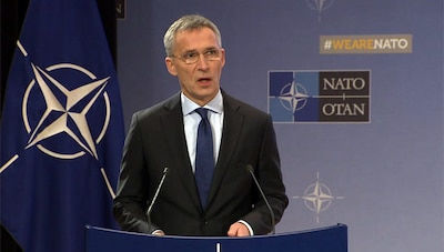 NATO secretary general speaks in Brussels.