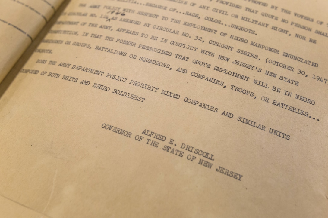 """Telegram sent from New Jersey Governor Alfred E. Driscoll to James V. Forrestal, Secretary of Defense on Dec. 16, 1947, asking: """"Does the Army Department Policy prohibit mixed companies and similar units composed of both white and negro soldiers?"""" New Jersey had passed a new constitution in 1947 that ended segregation in the New Jersey National Guard. Army policy at the time prohibited racially mixed units. (New Jersey National Guard photo by Mark C. Olsen)"""