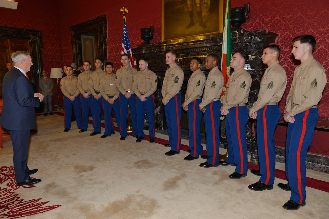 Defense Secretary James N. Mattis talks with 12 Marines standing in a row in a red-wallpapered room.