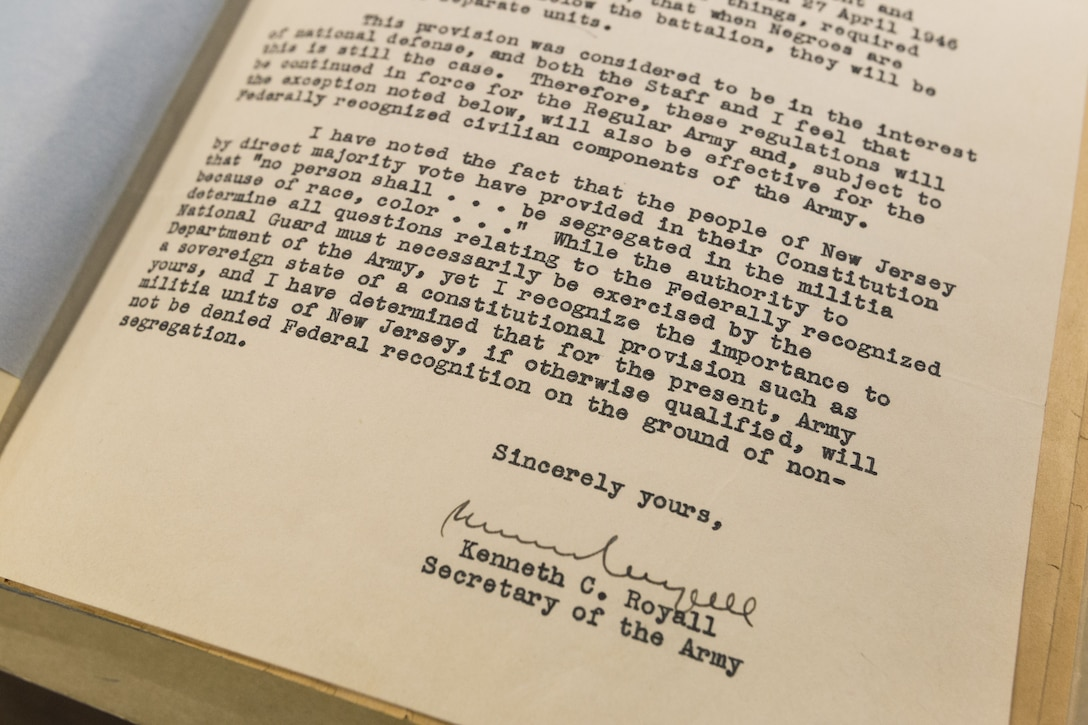 Letter from Kenneth C. Royall, Secretary of the Army, sent to New Jersey Governor Alfred E. Driscoll on Feb. 7, 1948, authorizing racially mixed units in the New Jersey Army National Guard. This made the New Jersey National Guard the first federally recognized military component to be integrated. (New Jersey National Guard photo by Mark C. Olsen)