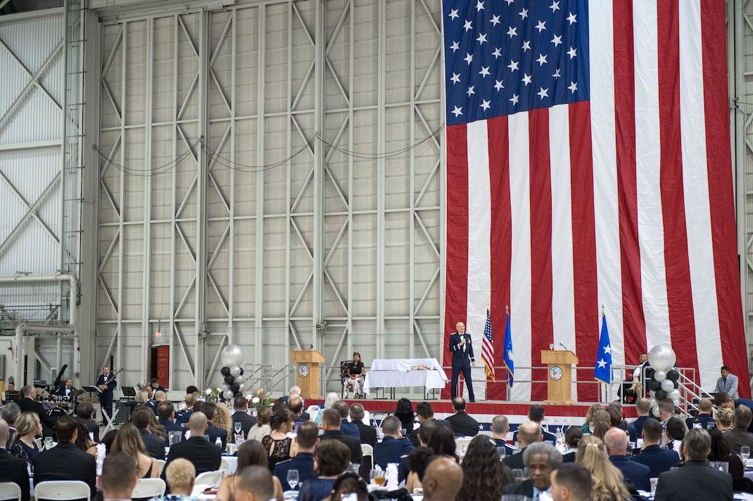The 412th Test Wing held its annual awards banquet in Hangar 1600 Feb. 9. (U.S. Air Force photo by Kyle Larson)