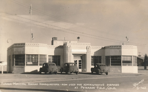 PETERSON AIR FORCE BASE, Colo.—The city terminal was used as the first station headquarters for Peterson Field on Peterson Air Force Base, Colorado, in 1943. After the end of World War II the terminal and hangers were returned to the city of Colorado Springs and resumed normal civilian airport use. (U.S. Air Force courtesy photo)