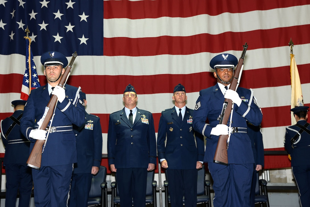 A picture of the Honor Guard from the 177th Fighter Wing presenting the colors.