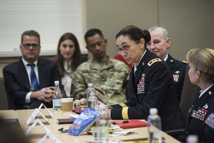 Maj. Gen. Marion Garcia, commanding general for the 200th Military Police Command, shares her experiences with congressional staff delegates and fellow general officers during the Women Leadership Roundtable Discussion hosted at the Pentagon, Feb. 7, 2018. Top U.S. military generals met with congressional delegates to discuss their life perspectives as military women and the importance of having access to every talented American who can add strength to the force. (U.S. Army Reserve photo by Maj. Valerie Palacios)