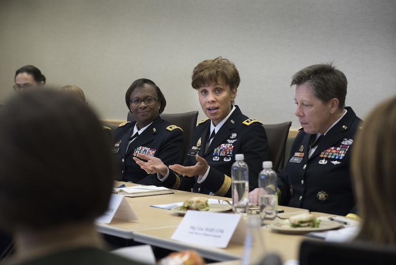Lt. Gen. Nadja West, Army surgeon general and commander of U.S. Army Medical Command, answers questions about her Army life before a panel of fellow peer general officers and several congressional staff delegates during the Women Leadership Roundtable Discussion hosted at the Pentagon, Feb. 7, 2018. Top U.S. military generals met with congressional delegates to discuss their life perspectives as military women and the importance of having access to every talented American who can add strength to the force. (U.S. Army Reserve photo by Maj. Valerie Palacios)