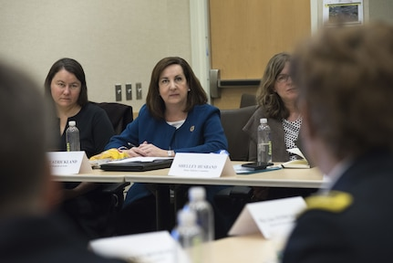 Ms. Kelle Strickland, chief of staff, Sergeant at Arms, House of Representatives, listens as Lt. Gen. Nadja West, Army surgeon general and commander of U.S. Army Medical Command, responds to her question during the Women Leadership Roundtable Discussion hosted at the Pentagon, Feb. 7, 2018.  Top U.S. military generals met with congressional delegates to discuss their life perspectives as military women and the importance of having access to every talented American who can add strength to the force. (U.S. Army Reserve photo by Maj. Valerie Palacios)