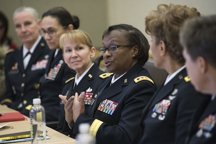 Lt. Gen. Gwen Bingham, Army assistant chief of staff for Installation Management, speaks before an audience, which included fellow general officers and several congressional staff delegates during the Women Leadership Roundtable Discussion hosted at the Pentagon, Feb. 7, 2018. Top U.S. military generals met with congressional delegates to discuss their life perspectives as military women and the importance of having access to every talented American who can add strength to the force. (U.S. Army Reserve photo by Maj. Valerie Palacios)