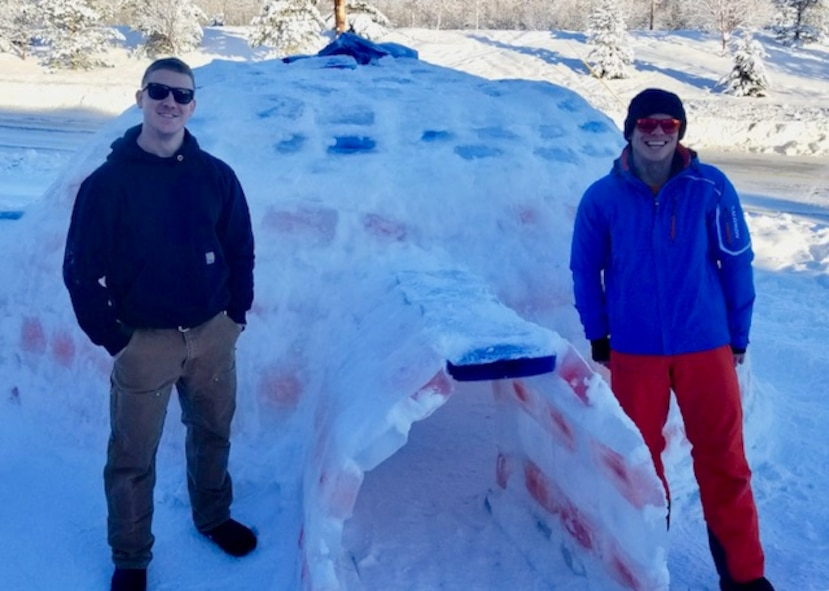 With the help of some friends, the American Flag inspired igloo was constructed between Dec. 22, 2017, and Jan. 31, 2018. The project took more than 200 man hours and 500 blocks. 