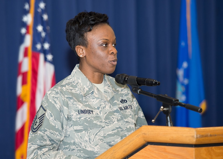 "Master Sgt. Latasha Lindsey, 436th Force Support Squadron readiness NCO, recites the poem ""Still I Rise"" by Maya Angelou, poet and civil rights activist, at the Black History Month Luncheon Feb. 6, 2018, on Dover Air Force Base, Del. The theme of the poem focuses on the determination to rise above adversity, injustice and hate. (U.S. Air Force photo by Mauricio Campino)"
