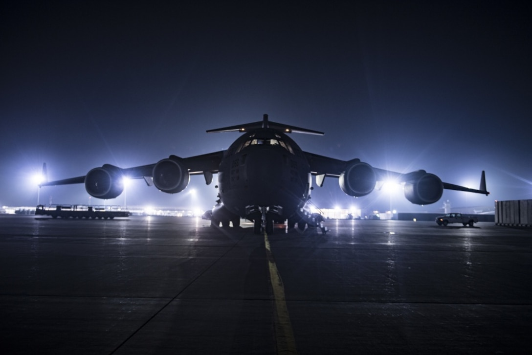 An Air Force C-17 Globemaster III transport jet assigned to the 816th Expeditionary Airlift Squadron sits on the ramp at Bagram Airfield, Afghanistan.