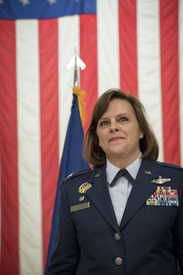 Col. Allison Miller assumes command of the 179th Airlift Wing, Mansfield, Ohio, Feb. 3, 2018, at an assumption of command ceremony. Col. Miller is the first female commander of an Ohio Air Guard unit.