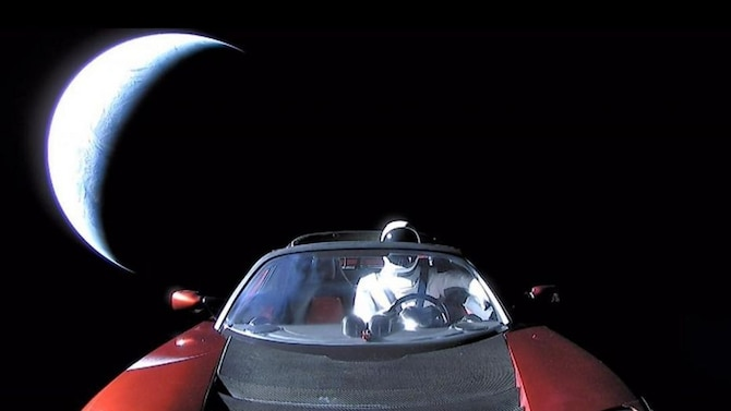 CAPE CANAVERAL AIR FORCE STATION, Fla. -- Last picture of Starman in roadster enroute to Mars orbit and then the Asteroid Belt. Starman and the roadster could be viewed live as they began their journey. (Courtesy photo by Elon Musk/SPACEX)