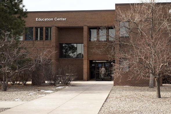 PETERSON AIR FORCE BASE, Colo. – The Education Center is located adjacent next to the base library on Peterson Air Force Base, Colorado, Feb. 8, 2018. The center provides education and training to Airmen, civilians and Department of Defense military dependents. (U.S. Air Force photo by Cameron Hunt)