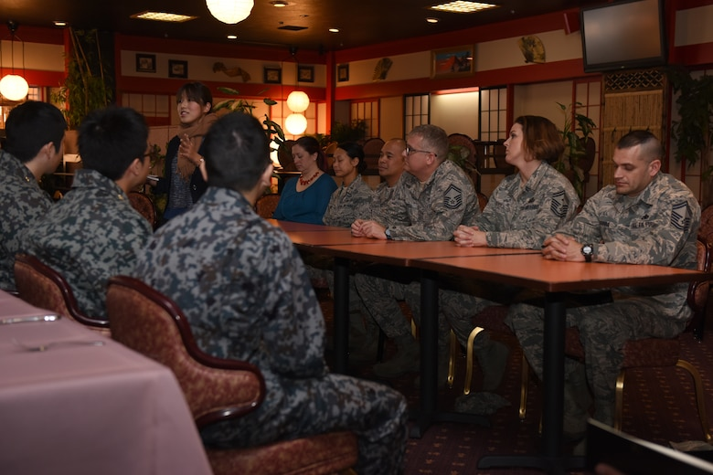 A panel composed of senior leadership primarily from the 374th Maintenance Group answer questions fielded by Koku Jietai Cadets during a Basic Maintenance Officer Tour at Yokota Air Base, Japan, Feb. 1, 2018.