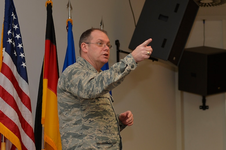 U.S. Air Force Brig. Gen. Richard G. Moore Jr., 86th Airlift Wing Commander, gives a speech during a Phoenix Raven graduation ceremony on Ramstein Air Base, Germany, Feb. 12, 2018. Although Air Mobility Command owns the Raven program, a mobile training team came to Ramstein to conduct the Phoenix Raven Qualification Course upon the request of U.S. Air Forces in Europe-Air Forces Africa leadership. (U.S. Air Force photo by Senior Airman Joshua Magbanua)