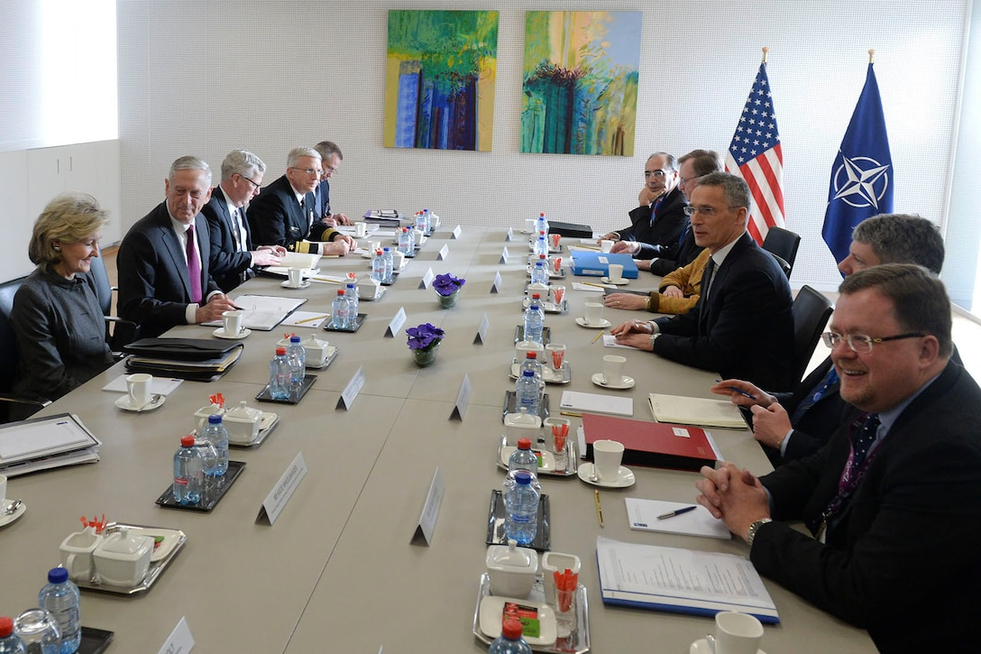 Defense Secretary James N. Mattis meets with NATO officials in Brussels.