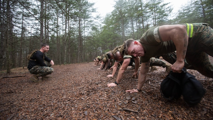 U.S. Marines participate in Force Fitness Instructor (FFI) Course culminating event at The Basic School, Marine Corps Base Quantico, Va., February 12, 2018. The FFI course is made up of physical training, classroom instruction and practical application to provide the students with a holistic approach to fitness. Upon completion, the Marines will serve as unit FFIs, capable of designing individual and unit-level holistic fitness programs.