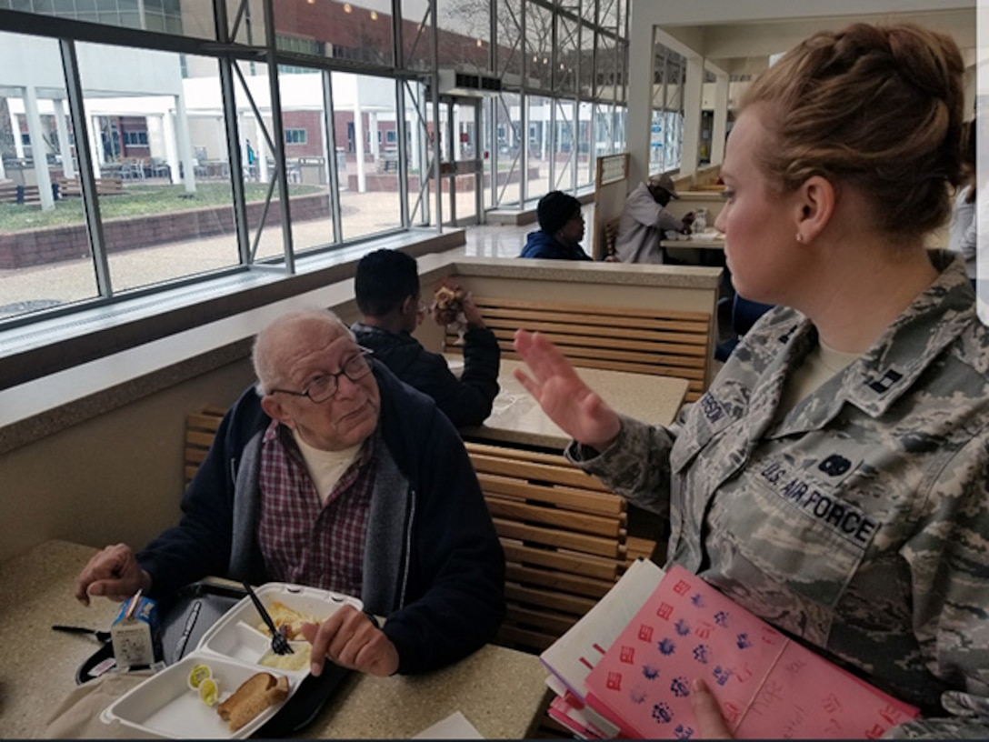Air Force captain speaks with veteran