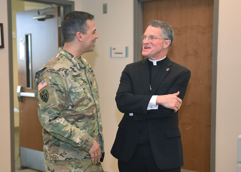 Broglio gave the devotional message during the luncheon as is tradition for religious guests and chaplains. He also celebrated Catholic Mass later in the evening with Buckley AFB families.