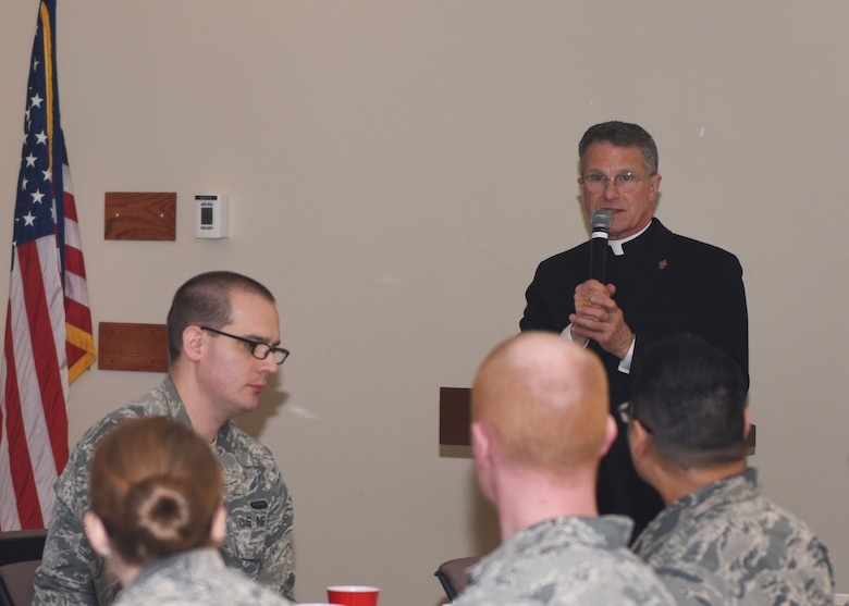 Broglio, along with other Auxiliary Bishops, visit every military installation annually. He led the evening Catholic Mass service along with a Confirmation rite for a Buckley AFB member.