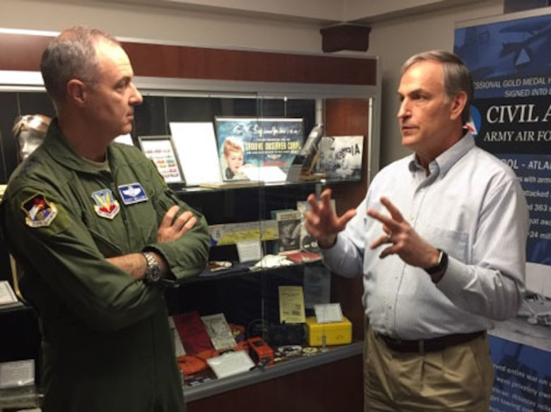MAXWELL AIR FORCE BASE, Ala. - Lt. Gen. R. Scott Williams, Commander, Continental NORAD Region- 1st Air Force (Air Forces Northern), listens as John Salvador, Chief Operating Officer, Civil Air Patrol – U.S. Air Force National Headquarters, talks about the organization's mission during Williams' visit to the headquarters Feb. 7.  (Air Force photo by Capt. Emily Meredith)