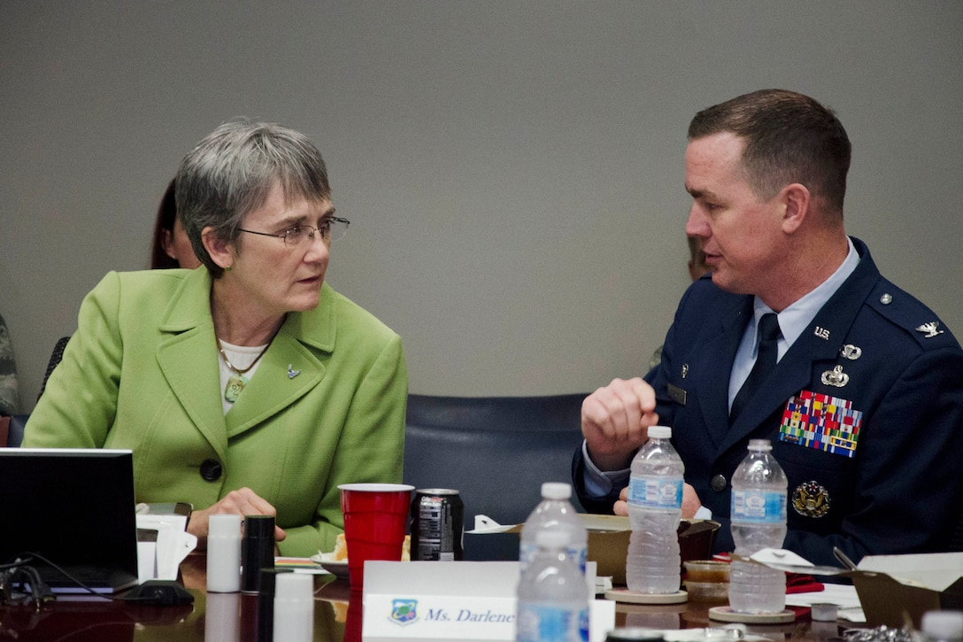Col. Steven M. Gorski (right), commander of the Air Force Technical Applications Center, Patrick AFB, Fla., briefs Secretary of the Air Force Heather Wilson on AFTAC's role in nuclear event detection.  Wilson visited the treaty monitoring center Feb. 8, 2018 to gain perspective into the Air Force's largest sensor network and organization responsible for the U.S. Atomic Energy Detection System.  (U.S. Air Force photo by Susan A. Romano)
