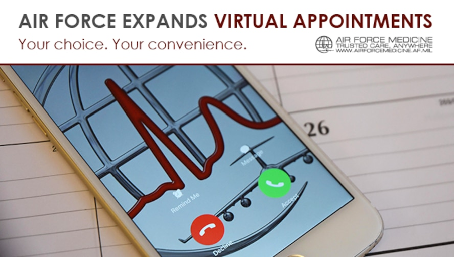 Over-the-phone virtual appointments save time and keep you healthier. The Air Force Medical Service expanded access to virtual appointments last year, and others in the Military Health System are using the Air Force model. (U.S. Air Force graphic)